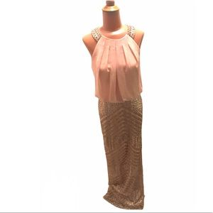 Vince Camuto Blush Geo-Sequin Gown